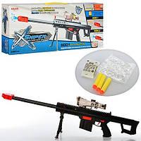 Автомат 9001, детское оружие, 49 см, водяные пули, 3 пули-присоски, свет, на батарейках, для игр в войнушку