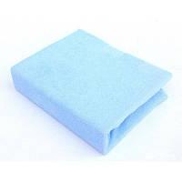 Махровый наматрасник на резинке, двуспальный голубого цвета, фото 1