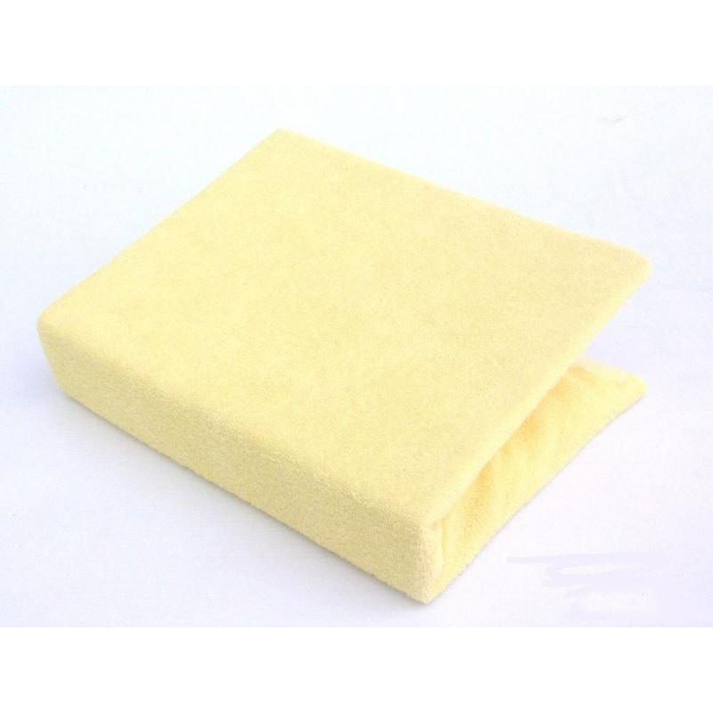 Махровый наматрасник на резинке с бортиками, двуспальный желтого цвета