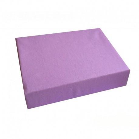 Махровая простинь на резинке с бортиками, двуспальная фиолетового цвета