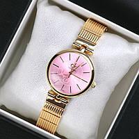Часы женские наручные Calvin Klein Mira золотые с розовым циферблатом, часы дропшиппинг