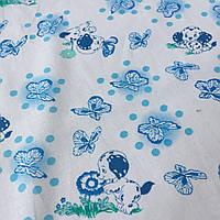 Ситец с голубыми далматинцами, бабочками, горошками на белом фоне, фото 1