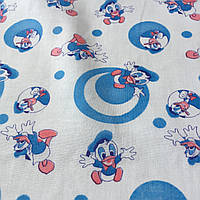 Ситец с голубыми дональд даками, горошками на белом фоне