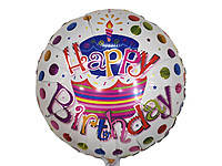 Шарик фольгированный Happy Birthday тортик диаметр 45 см.
