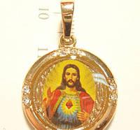 """Кулон Позолота """"Икона Иисус Покрытие Лак Круглая"""", фото 1"""