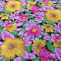 Ситец с яркими желтыми и розовыми цветочками на зеленом и черном фоне, фото 1
