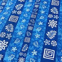 Ситец с белыми листочками и цветочками на голубой и синей полоске