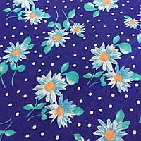Ситец с белыми ромашками и горошком на синем фоне, фото 1