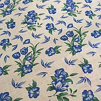 Ситец с голубыми цветочками на белом фоне