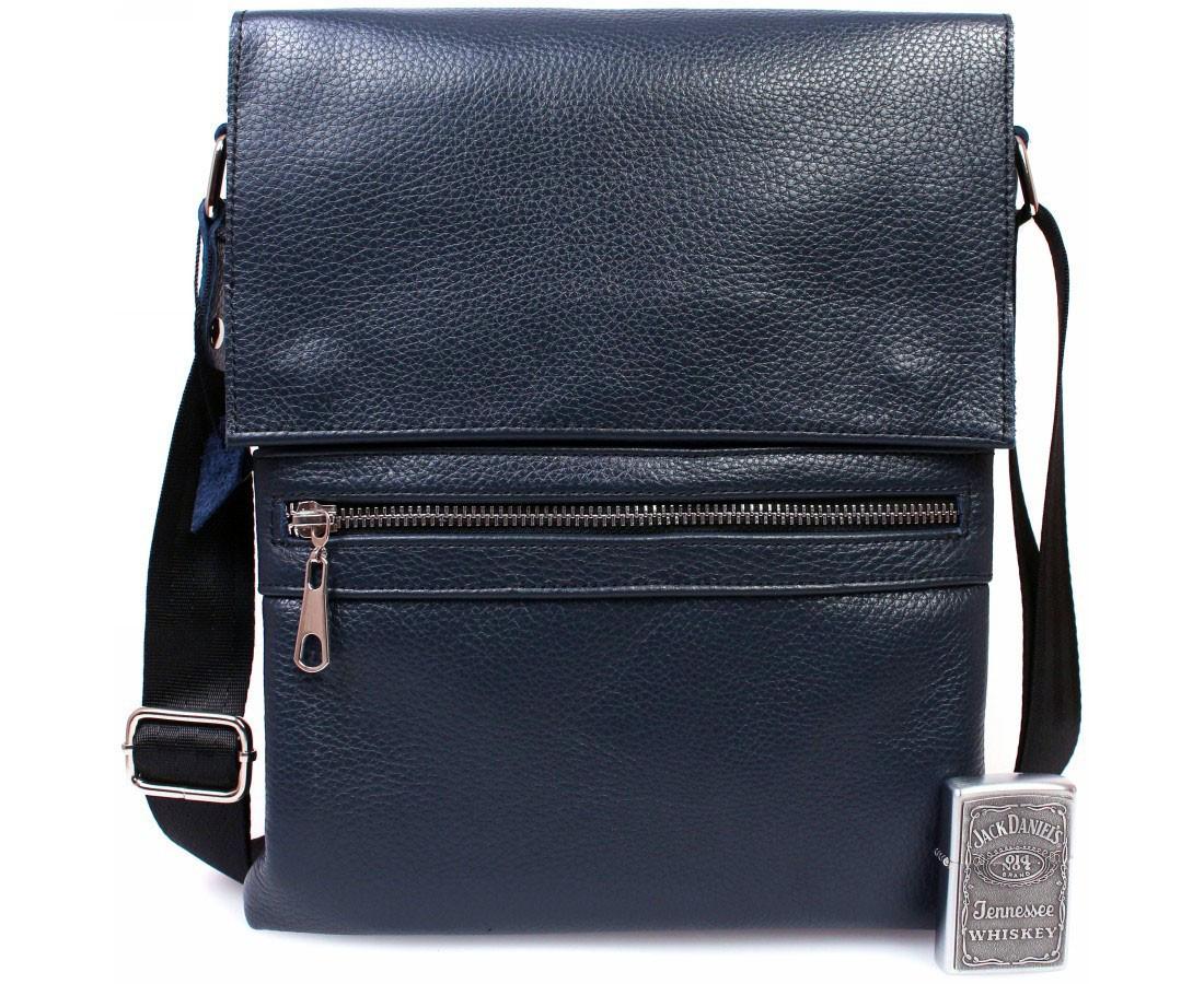 Стильная мужская сумка из натуральной кожи синяя ALVI av-99black