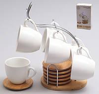 Кофейный набор, 6 чашек 110мл с бамбуковыми костерами