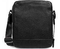 Мужская кожаная сумка через плечо формата А5 черная