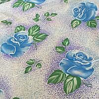 Ситец с голубыми розами и фиолетовым напылением, фото 1
