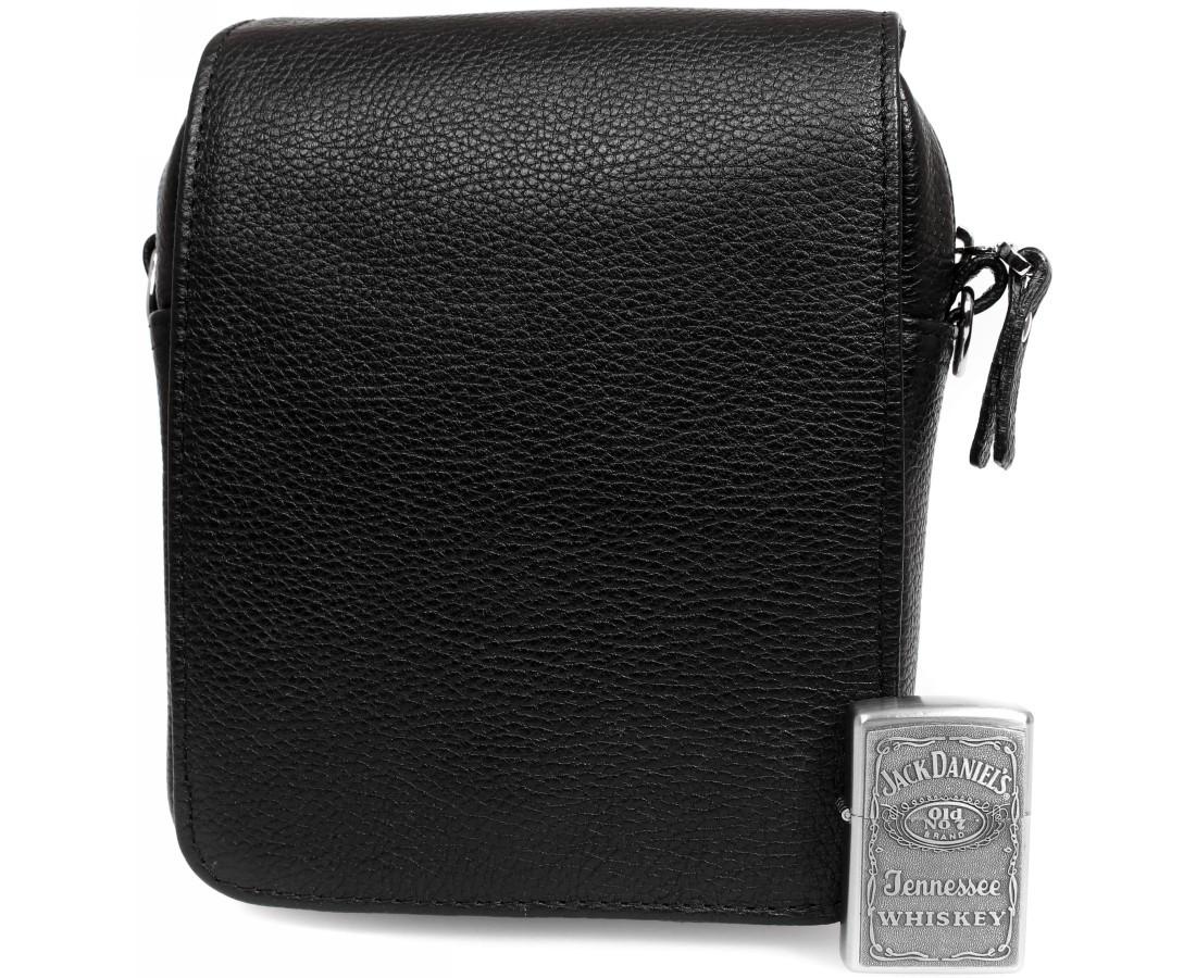 Практичная мужская кожаная сумка-мессенджер черная