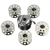 Шпульный колпачок + 5 металлических шпулек для швейных машин JANOME, BROTHER, SINGER и др.