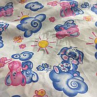 Ситец с голубыми и розовыми слониками на облаке