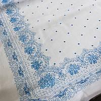 Ситец платочный, головной платок с голубой каймой, ширина 80 см, фото 1