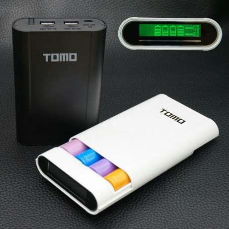 Tomo V8-4 Power bank зарядное 2 в 1 для аккумуляторов 18650 цвет белый