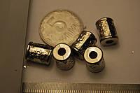 Бусина пластиковая под метал серебро