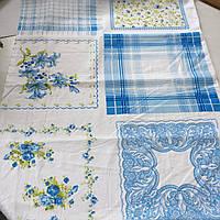 Ситец платочный для женских и детских носовых платков в голубых тонах, фото 1