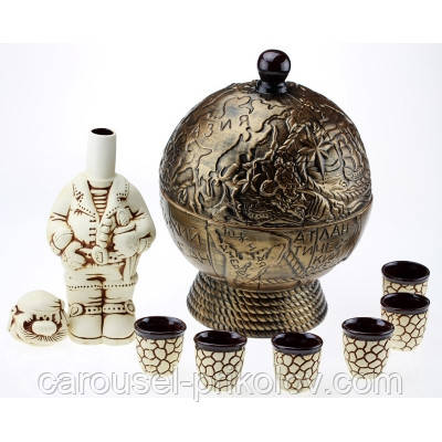 Бар глобус - набор керамика 8 предметов, бронза.