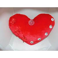 Подушка Валентинка со стразами 22*30 см, мягкая декоративная подушечка, подушка сердце, мягкая валентинка