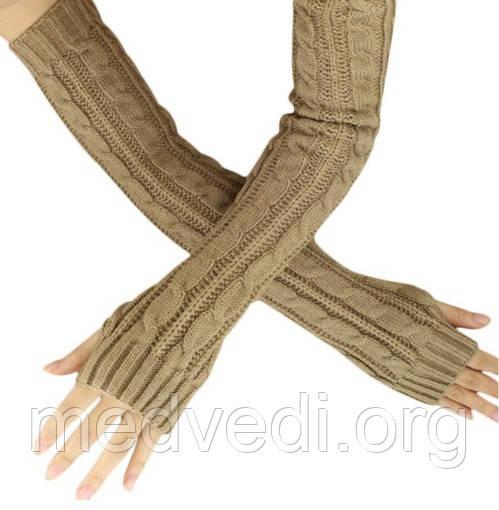 Длинные бежевые митенки (перчатки без пальцев) 50см
