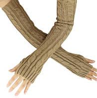 Бежевые длинные перчатки без пальцев 50см (женские митенки)