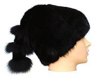 Меховая шапка из норки с хвостом