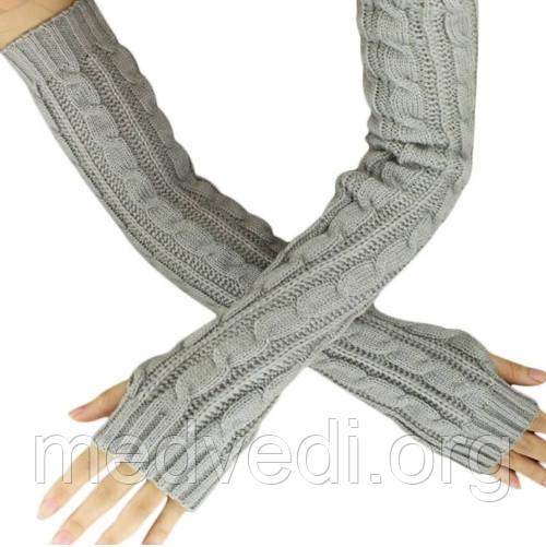 Серые длинные перчатки без пальцев 50см (женские митенки)