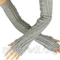 Длинные серые митенки (перчатки без пальцев) 50см