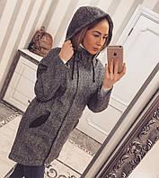 Женское теплое твидовое пальто-парка