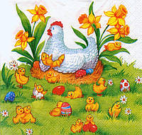 Салфетка для декупажа Пасхальная с цыплятами 4869
