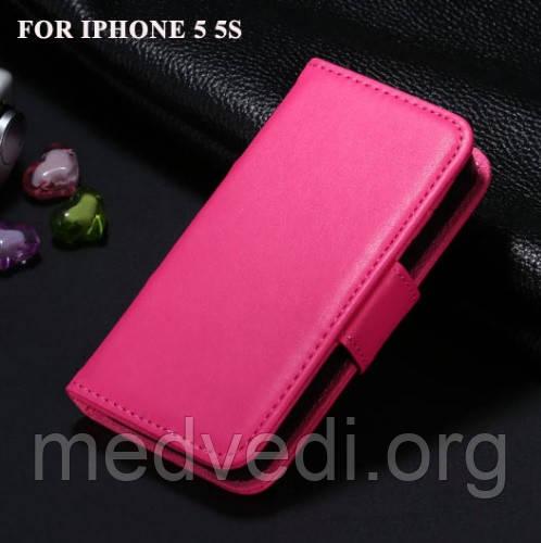 Розовый чехол на iphone 5/5S из полиуретановой кожи