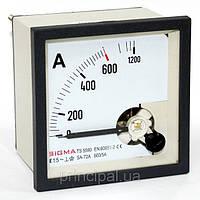 Амперметр 0-1000А (1000/5) переменного тока 72х72 мм щитовой стрелочный в шкаф аналоговый амперметр цена
