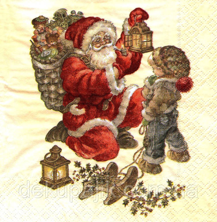 Серветка декупажна Санта з ліхтарем
