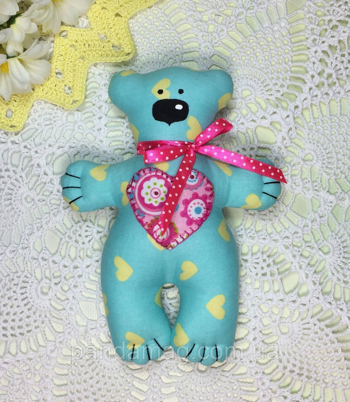 """Мягкая игрушка ручной работы """"Мишка с сердечком"""" голубой"""