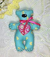 """Мягкая игрушка ручной работы """"Мишка с сердечком"""" голубой, фото 1"""