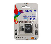 Карта памяти MicroSDHC 32 Гб (class 10) Adata + Переходник MicroSD-SD