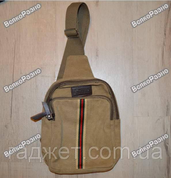 Мужская сумка рюкзак Flash на одно плечо коричневого цвета.