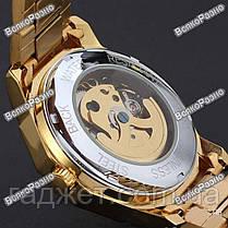 Мужские механические часы Winner Timi Skeleton Automatic Sport в золотистом цвете., фото 2
