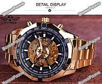Мужские механические часы Winner Timi Skeleton Automatic Sport в золотистом цвете.