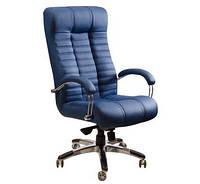 Кресло для руководителя Атлантис Хром кожа сплит чёрная, мех ANYFIX, фото 1