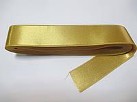 Стрічка атласна  двостороння 3 см ( 10 метрів) золотиста пастельна G-03-380