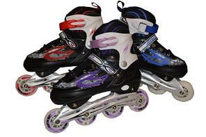 Коньки роликовые  раздвижные , рама алюминий, колёса PU, мягкий ботинок размер 40-43