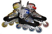 Коньки роликовые  раздвижные (кнопка), рама алюминий, колёса PU, подшипник ABEC-7 размер 40-43