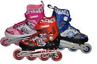 Коньки роликовые раздвижные (закрутка, мягкий ботинок) размер 40-43