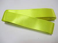 Стрічка атласна  двостороння 3 см Лента атласная двухсторонняя. ( 10 метрів) жовта яскрава Н-03-088