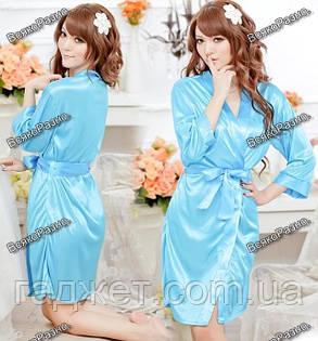 Женский коротенький сексуальный халатик голубого цвета., фото 2