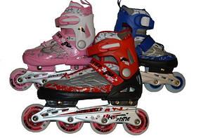 Коньки роликовые раздвижные,  подшипник ABEC-7, мягкий ботинок размер 40-43